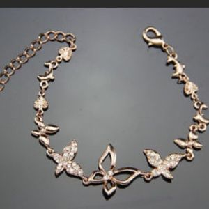 ❤️gorgeous rhinestone butterfly rose gold bracelet